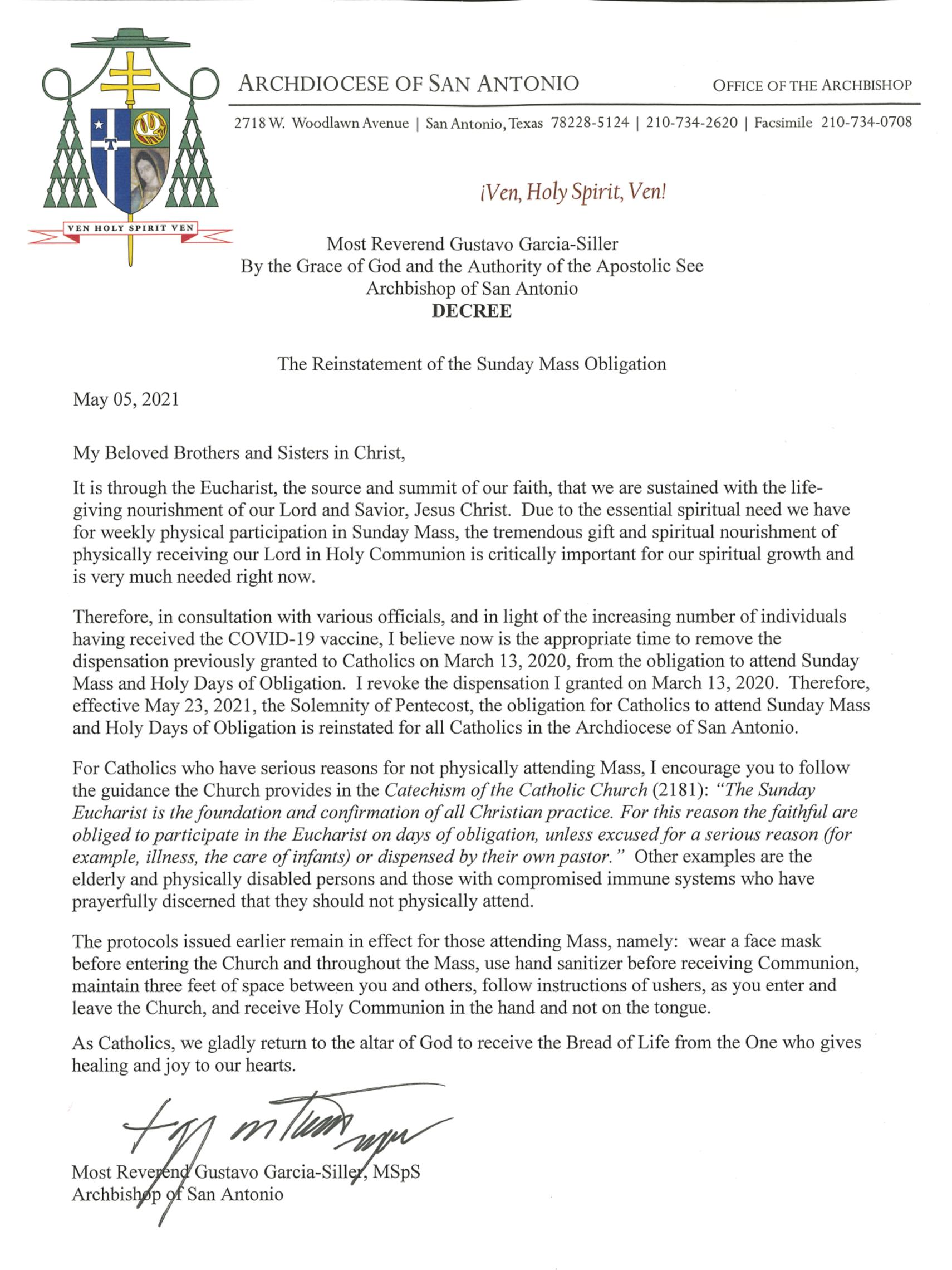Decree On Dispensation Of Mass